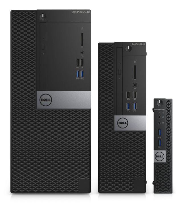 Image showing the different sizes of a Dell desktop PC with the largest on the left and smallest on the right