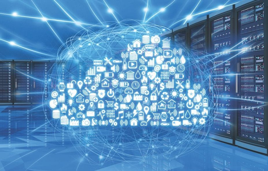 Futuristic cloud icon shown in front of network cabinets