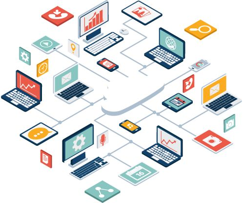 promotional image showing how all devices can be linked to the cloud