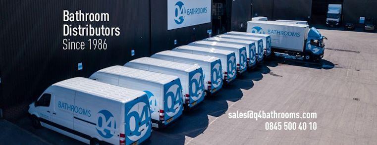 Image taken from high of 9 full size vans for delivering bathroom furniture