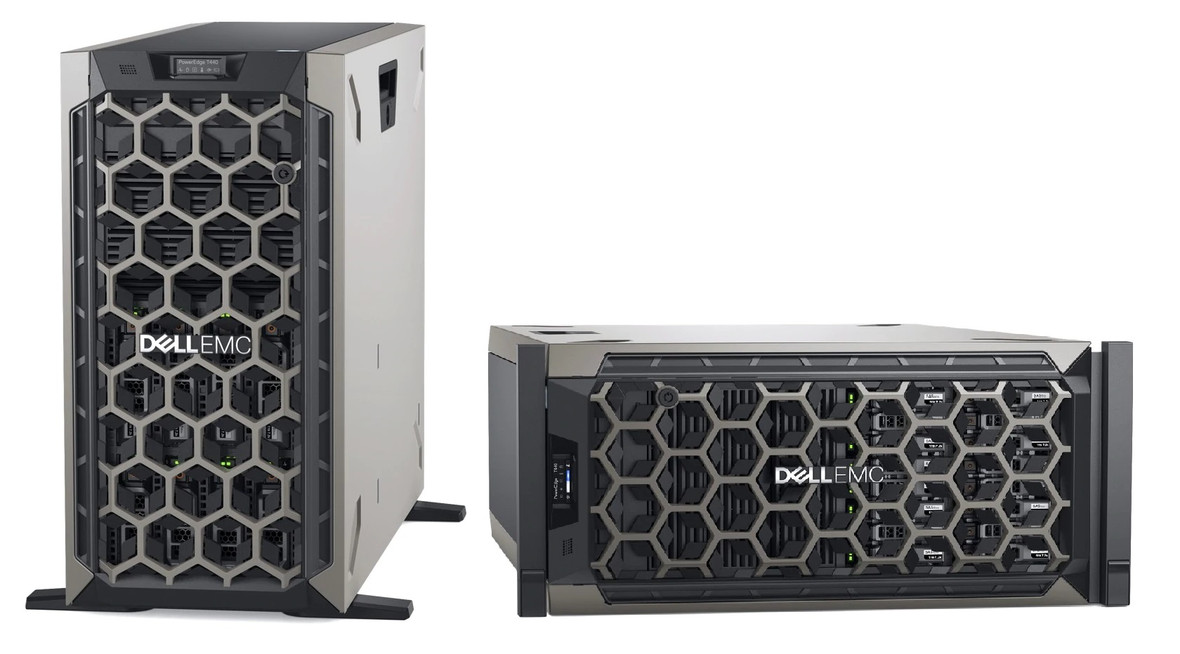 Dell PowerEdge servers shown vertically and horizontally