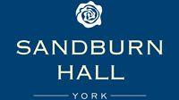 Sandburn Hall logo on Blue background
